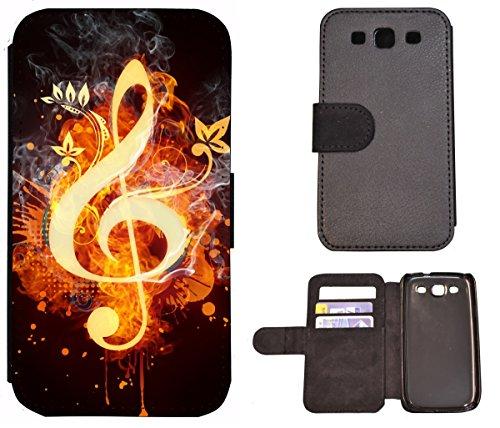 Flip Cover Schutz Hülle Handy Tasche Etui Case für (Apple iPhone 6 / 6s, 1415 Elefant Meer Strand Lustig Tier) 1412 Notenschlüssel Musik Feuern Abstract