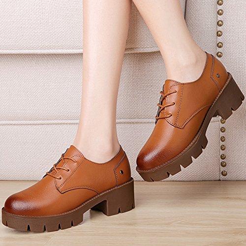 XTIAN , chaussures compensées femme marron foncé