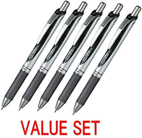 Pentel EnerGel Deluxe RTX Retractable Liquid Gel Pen,0.7mm, Fine Line, Metal Tip, Black Ink-Value set of 5 (With Our Shop Original Product Description) by Pentel