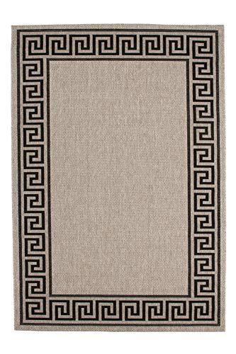 Lalee 347169108Alfombra de aspecto sisal//Plano/Cocina/Costura: cenefa/plata, plata, 160 x 230 cm