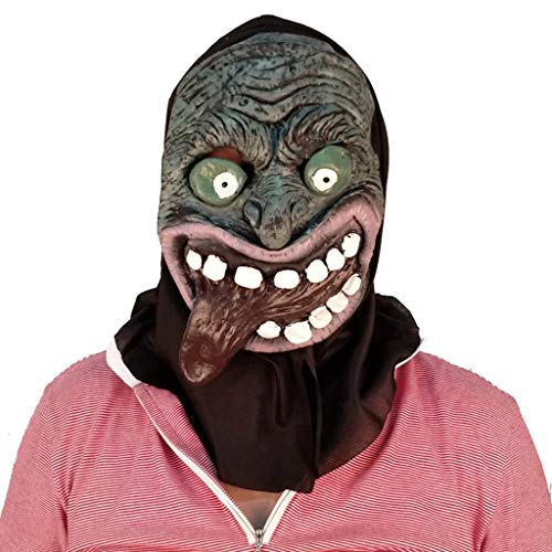 Terrorist Kopfbedeckung Halloween Weihnachten Maske Scary männlich Erwachsene weibliche Gesicht Perücke Maskerade Status Demon Death Mask Masken (Color : Brown, Size : 36CM/14inch) (Männlichen Make-up Vampir)