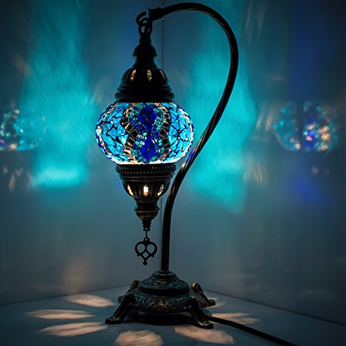 Turkish Mosaic Table Lamp ,Stunning Moroccan Style, Unique Globe Lampshade, Swan Neck Series by TK BAZAAR (Parliament Blue)