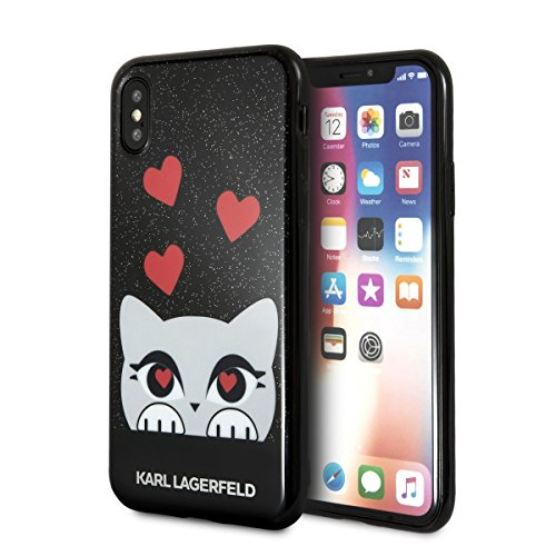 Image of Karl Lagerfeld TPU Soft Cover Glitter Black, Valentine Choupette Collection, für iPhone X, KLHCPXVD