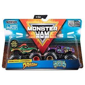 Monster Jam 6053293 Auténtico 2 Paquetes, Escala 1:64 Monster Trucks (Estilos Variados), Multicolor