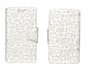 J Cover Teddy Series Leather Pouch Flip Case With Silicon Holder For Spice Stellar Virtuoso Mi 495 White