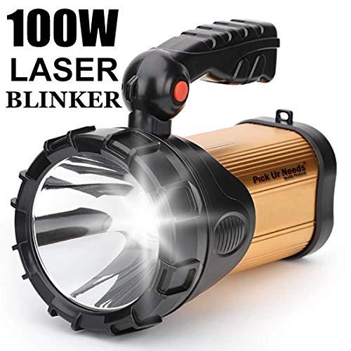 Pick Ur Needs® Rocklight Metal 100w Rechargeable Waterproof Bright Led Torch Light Laser Long Range Distance High Power Search Light Kisan Rechargable Emergency Lights(Multi) (Cut Handel)