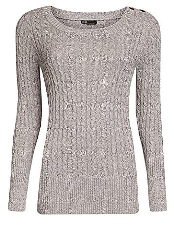 oodji Ultra Damen Pullover mit Zopfmuster und Lurex, Grau, DE