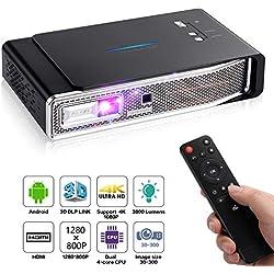 OTHA V5 Mini Projecteur, Pico Projecteur, 4K Vidéoprojecteur 3800 Lumens, 1280x800, Projecteur Video Android DLP Link 3D, Supporte USB IR 4K HDMI AV