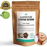 Organic Coffee scrub viso e corpo, 100% naturale esfoliante W/jojoba, almond oli essenziali, vitamina E, burro di cacao e chicchi, sale marino, smagliature rimozione–Juniper Pure