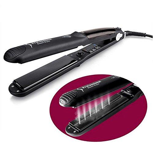 GAOLIXIA Gerades Haar Curls Doppelnutzung Professional Spray/Dampf Keramik Flat Iron 1 Zoll Ionic Haarglätter mit Digital Einstellbarer Temperatur Dual Voltage für Reisen Schwarz (Farbe : Schwarz) -