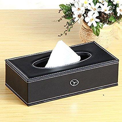 PU-Leder Tissue Box Cover, Sitz Rückseite Facial Tissue Halter für Business Auto Automotive, schwarz 2, 23.6 x 11.80 x 6.50 cm