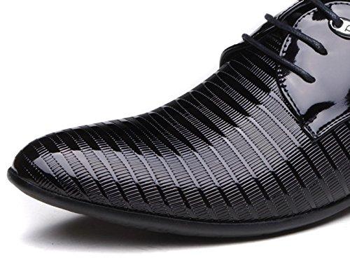 NSPX I vestiti degli uomini di calza i pattini casuali di affari britannici / i pattini di cerimonia nuziale del merletto di punta di colore nero grande formato 45,46 , 44 , black 43-BLACK