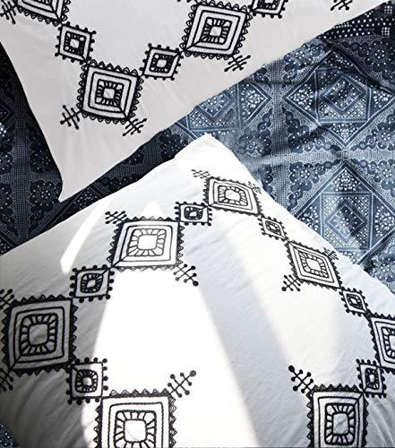 Flber Geo Stickerei-Set aus Baumwolle, übergroße Kissenbezüge, 66 x 66 cm, 2 Stück -