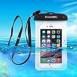 Unterwassergehäuse Tasche, HAWEEL® - Universal, Klar Spielraum-Beutel-Abdeckung für Handys, iPhones, Wertsachen in klar (Inklusive optionaler Turnhallen-Armbinden und Taljereep)