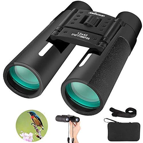 Fernglas 12x42 Kompakt Teleskop mit Gurt Outdoor Ferngläser Wasserdicht Klein Feldstecher für Wandern, Jagd, Wandern, Fahren, Jagen und Tierbeobachtungen
