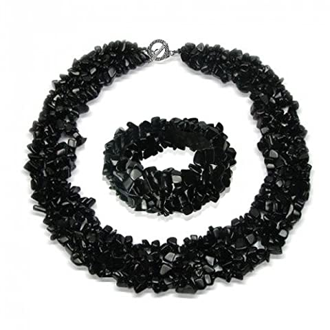 Bling Jewelry Multi brins Onyx noir Cluster puces Collier et