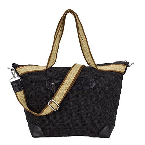ROSENROT - STELLA - XL Shopper Tasche Handtasche Canvas Leinen mit Glitzer Stern aus Strass Schwarz