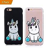 KM-Panda Coque Apple iPhone 7 8 Licorne Noir + Transparent Silicone TPU Transparent...