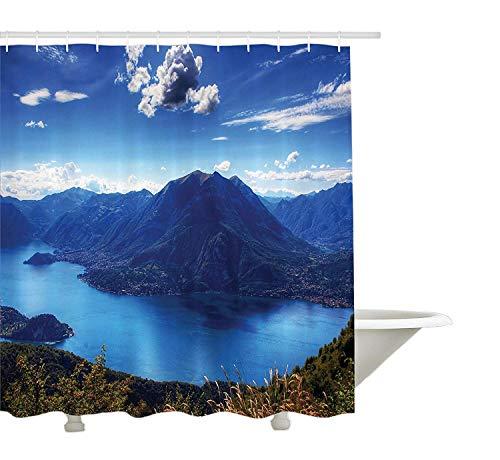 Yeuss Natur Duschvorhang, Panoramablick auf den Camo See mit Bergen Wolken Mutter Erde Paradies wie Landschaft, Stoff Badezimmer Dekor Set mit Haken, blau -