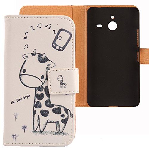 Lankashi PU Flip Leder Tasche Hülle Case Cover Schutz Handy Etui Skin Für Microsoft Lumia 640 XL Dual Sim 4G Giraffe Design