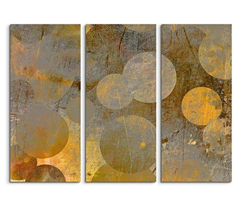 0x90cm) 3teiliges Bild auf Leinwand Hintergrund abstrakt grunge Kreise grau gelb Wandbild auf Leinwand als Panorama ()
