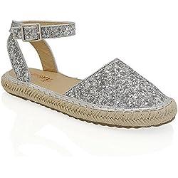 Essex Glam Plata Resplandecer Zapatos de esparto con plataforma y tiras al tobillo EU 39
