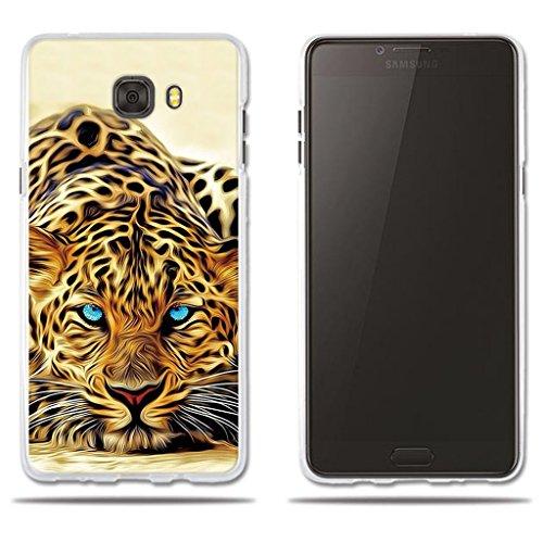 """fubaoda Funda Samsung Galaxy C9 Pro Exótico Dibujo de un Leopardo de Ojos Azules,Amortigua los Golpes, Funda Protectora Anti-Golpes para Samsung Galaxy C9 Pro (6.0"""")"""