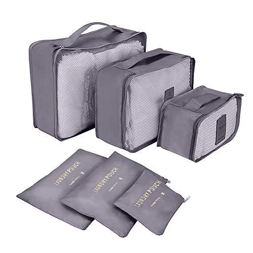 Organizzatori di viaggio, laxikoo 6pcs organizer per valigie cubi di imballaggio sistema di cubo di viaggio perfetto abbigliamento intimo calzature organizer valigia cubi organizzatori - grigio