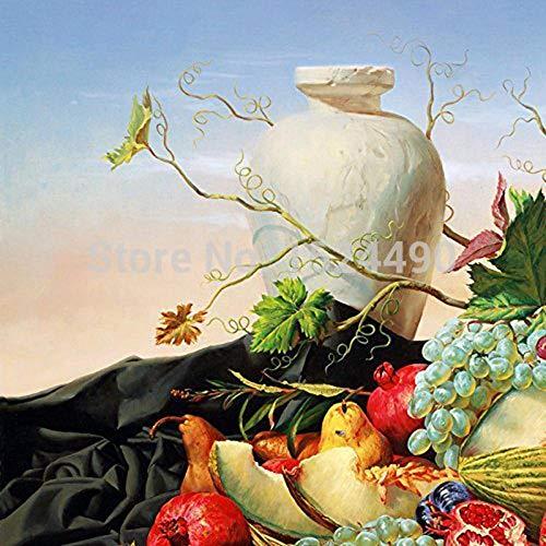 LSHUAJIANG Handgemaltes Ölgemälde Auf Leinwand,Vintage Frucht Vase, Weiße Blätter Blumen,...