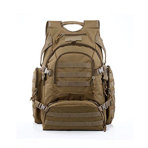 Imagen de yakeda® alpinismo al aire libre los hombres y las mujeres del bolso del bolso de camuflaje bolsa de hombro de gran capacidad bolso  táctica impermeable al aire libre  militares 60l  a88042 color barro
