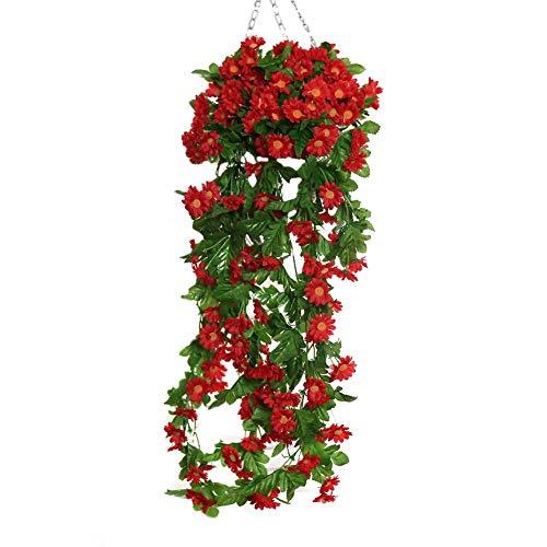 Simulazione di fiori artificiali falso daisy vine bouquet appeso a parete floreale rattan vine flora decorazione della parete per la cerimonia nuziale decorazione della casa partito festival bar decor