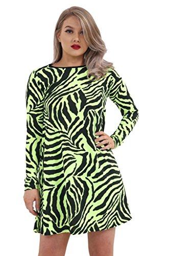 GirlzWalk Frauen Damen Langarm Zebra Print Swing Kleid Skater Stretch Minikleid Top Plus Größe (Neon Gelb, XL 44-46)