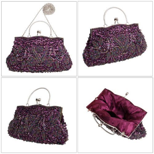 BCM - Borsetta clutch da sera chiusura rigida decorata con paillettes interno in satin Porpora