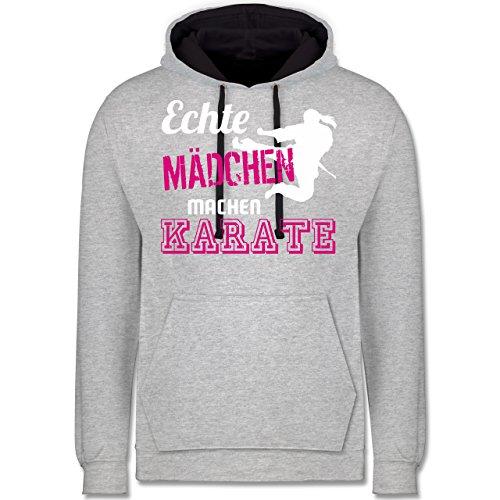 Shirtracer Kampfsport - Echte Mädchen Machen Karate - M - Grau meliert/Navy Blau - JH003 - Kontrast Hoodie