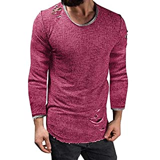 Anglewolf Men's Slim Fit O Neck Long Sleeve Muscle Tee T-Shirt Ripped Casual Tops Blouse Mens T-Shirts Polo Shirts Thermal Vest Underwear Extra Warm Winter Endurance Top Sleeves(Pink,L)