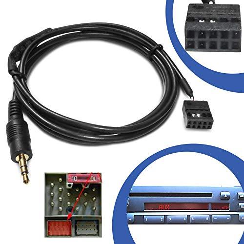 KFZ Auto AUX Line In Adapter Kabel 10 Pol Stecker CD Radio Buchse Anschluss kompatibel mit BMW E46 2002 Radio Ipod