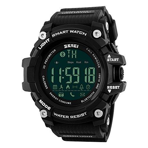 Reloj inteligente LED, digital, para hombre, sumergible hasta 5 atmósferas, deportivo, de pulsera, con llamadas, notificaciones de SMS, podómetro