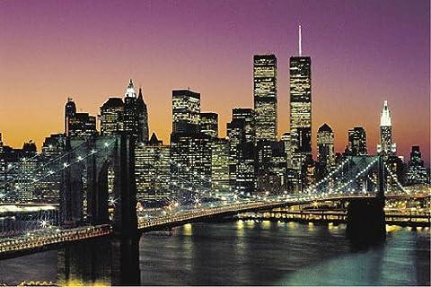 Brooklyn Bridge New York City Couleur Grande affiche plastifiée