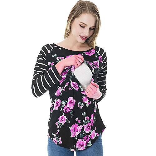 Mutterschaft Langarm Stillzeit Bluse Tee Geblümt Gestreifte Umstandsshirt Umstandsmode Nursing Baby T-Shirt Stillshirt Stilltop Schwanger Frauen Basic Kleidung (Schwarz, L)