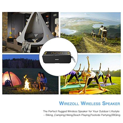 Bluetooth Lautsprecher, Wirezoll Wasserdicht 12W Speaker mit 5200mAh Batterie, Schwarz & Rot ( Bass Verstärker , IP65 Wasserfest , Staubdicht , Stoßfest , Freisprecheinrichtung ,TF Karte Unterstützt ) Schwarz & Gelb - 5