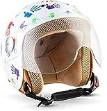 SOXON SK-55 Kids Night · Retro Urbano Vintage Urban Bobber Mini-Jet Helmet NINOS Moto motocicleta Scooter Pilot Mofa Kids Vespa Casco Jet Chopper Biker Cruiser · ECE certificado · visera incluido · incluyendo bolsa de casco · Negro · S (53-54cm)