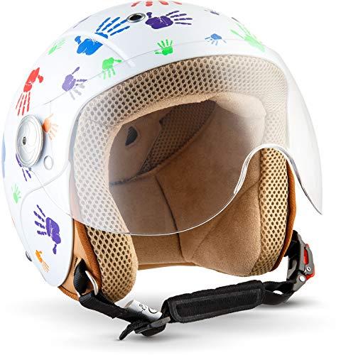 "Soxon® SK-55 ""Color Hands"" · Kinder-Jet-Helm · Kinder-Helm Motorrad-Helm Roller-Helm Kids Scooter-Helm Vespa Bobber Mofa-Helm Chopper · ECE Visier Schnellverschluss SlimShell Tasche XXS (49-50cm)"