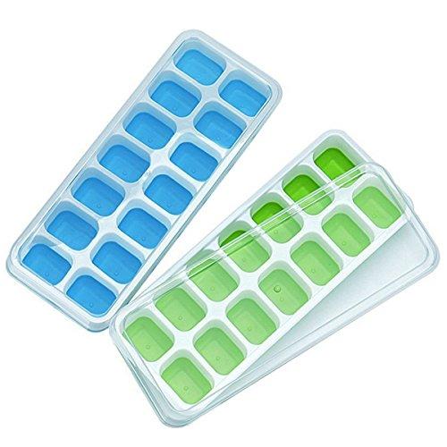 wkmr Silikon Ice Cube Tabletts 2Pack mit abnehmbarem Deckel, leichtes und flexibles 28ICE CUBE Formen mit schutzabweisend. LFGB zertifiziert und BPA-frei, langlebige, stapelbar und spülmaschinenfest