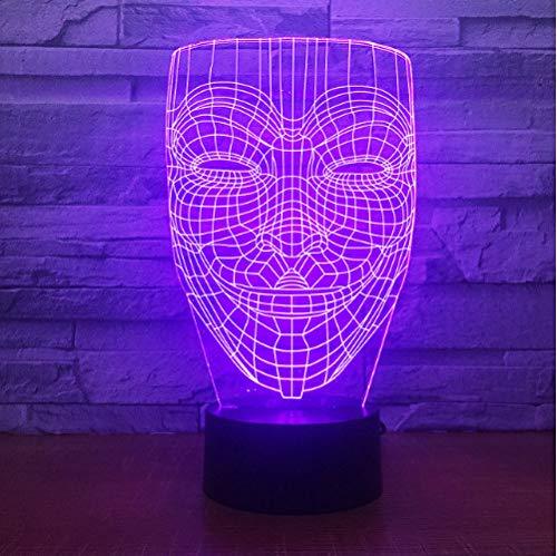 3D Illusion Nachtlampe Vendetta Mask Illusion Nachtlicht Ungehorsam Anonym Guy Fawkes Party Dekorative Beleuchtung Leuchtende Led-Lampe