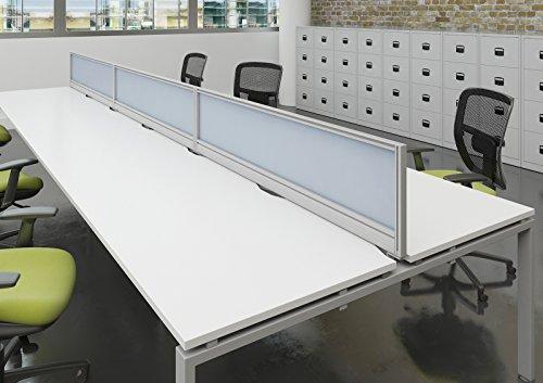 Bureau-lphant-Oe08-ag1600-s-w-Montage–larrire-pour-bureau-cran-Longueur-1600-mm-Hauteur-380-mm-Blanc-verni-dcran-avec-un-cadre-en-aluminium-Argent
