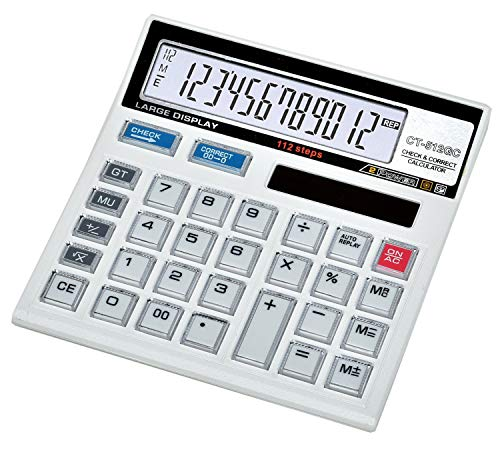 SaleOn™ Financial and Business Office Calculator with Large LCD Display and Acrylic Protected Mirror Buttons(White)-801