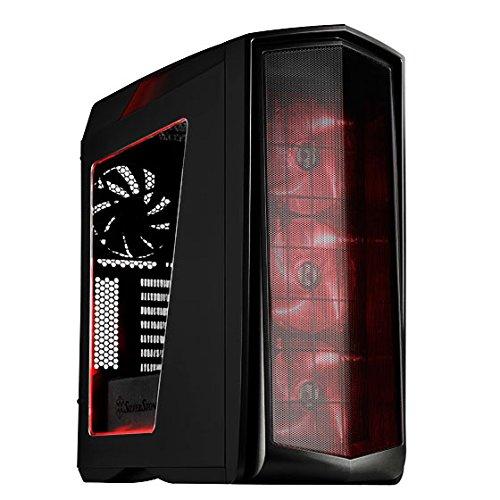 SilverStone SST-PM01BR-W - Cabinet da gaming Primera Mid-Tower ATX , Silent High Airflow Performance, con finestra, LED ROSSI, nero