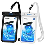 Mpow Waterproof Case, IPX 8 Cellphone Dry Bag for iPhone, Google Pixel, HTC, LG, Huawei, Sony, Nokia (2-Pack,Black&White)