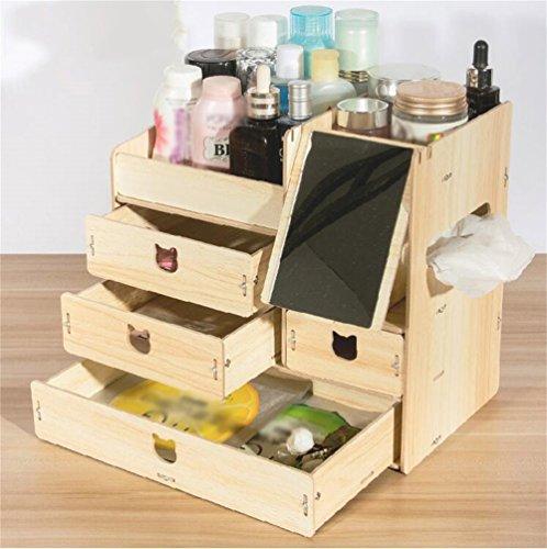 QZHIWU Holz Desktop Schublade kosmetische Aufbewahrungsbox/Regal Maske Verpackung Box Make-up Lagerregale/Rack mit Spiegel