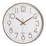 Pingenaneer Orologio da Parete Design Moderno Quarzo Silenzioso Rotondo Orologio Digitale Senza Ticchettio per la Camera da Letto Ufficio e la Cucina - Oro Rosa 30 cm